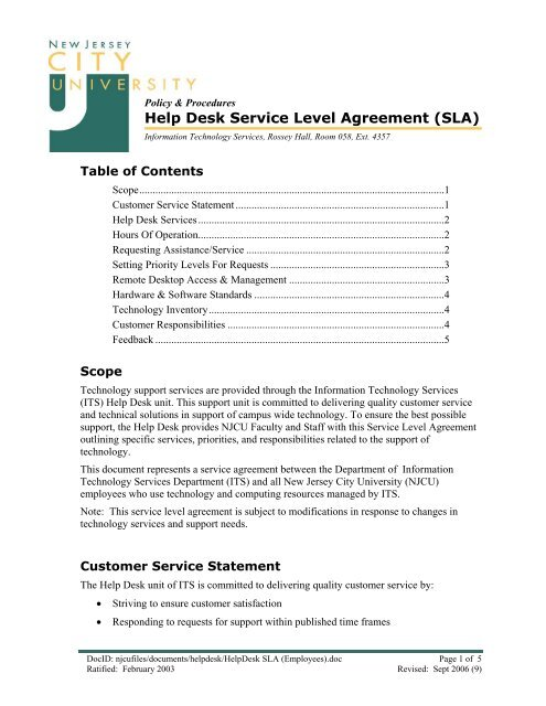 Sla Help Desk Service Level Agreement New Jersey City