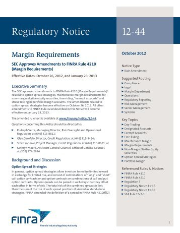 Regulatory Notice 12-44 - finra