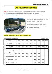 Price list of Second-hand car - WTCS, There when you need us!