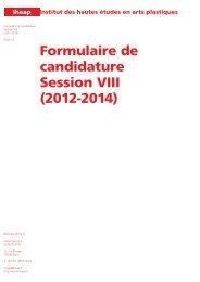 Formulaire de candidature Session VIII (2012-2014) - Cipac