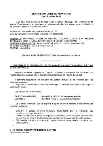 SEANCE DU CONSEIL MUNICIPAL du 17 juillet 2012 - Riom ...
