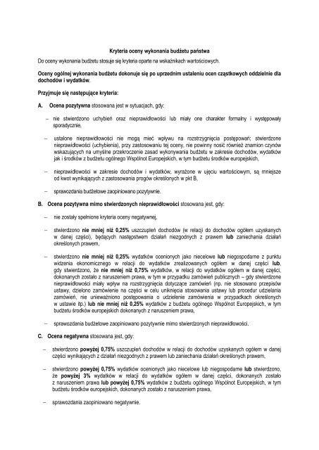 Kryteria oceny wykonania budżetu państwa Do oceny wykonania ...
