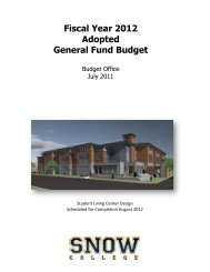 2012 Budget Book - Snow College