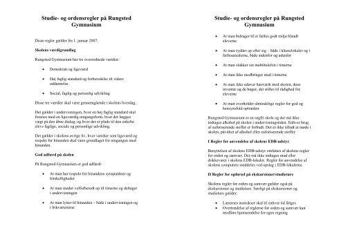 Studie- og ordensregler på Rungsted Gymnasium Studie- og ...