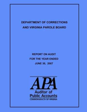 Department of Corrections - Virginia Auditor of Public Accounts