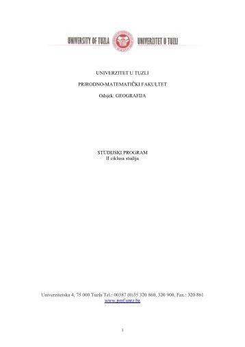 Geografski studij - PMF - Univerzitet u Tuzli