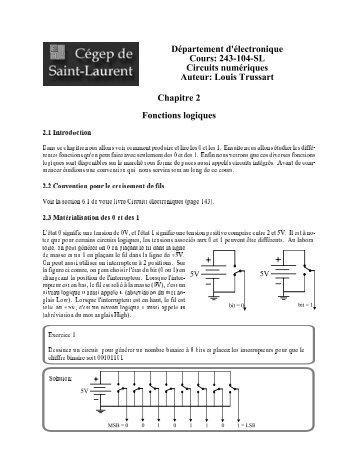 Fonctions logiques - Page personelle de Louis Trussart - Profweb