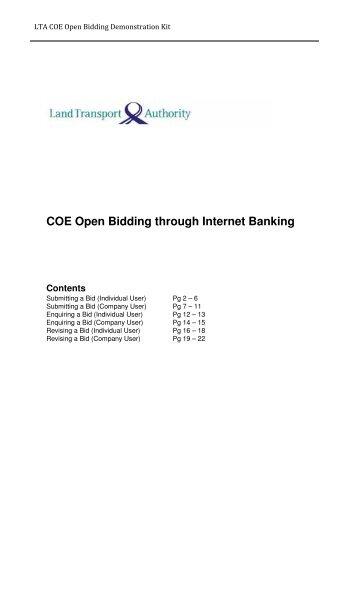 COE Open Bidding through Internet Banking Contents