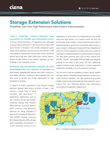 Ciena Storage Extension Solutions white paper - Network World