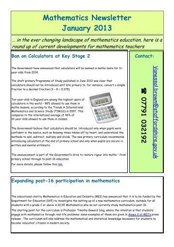 Mathematics Newsletter Jan 2013