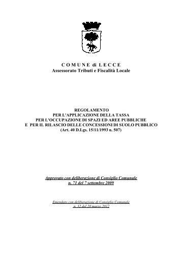 Reg. tassa occupazione spazi e aree pubbliche - Comune di Lecce