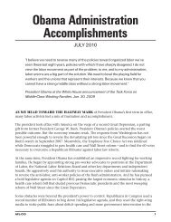 Obama Administration Accomplishments - United Steelworkers