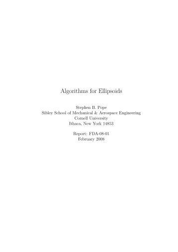 Algorithms for Ellipsoids - Cornell University