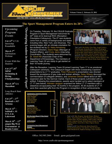 The Sport Management Program Enters its 20's Upcoming Program ...