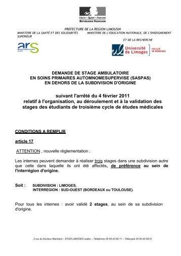 Dossier de candidature pour le SASPAS Hors Subdivision