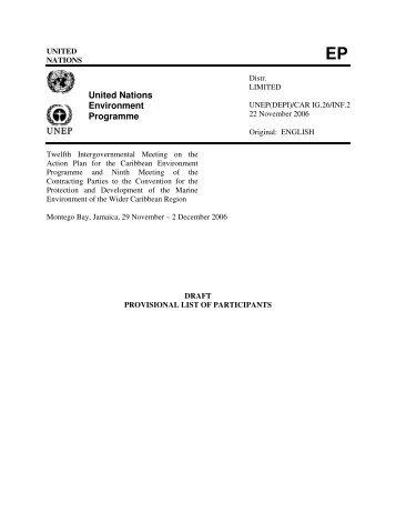 United Nations Environment Programme - Caribbean Environment ...