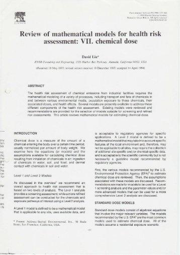 assessment: VII. chemical dose