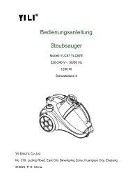 Bedienungsanleitung Staubsauger - YILI ELECTRIC CO.,LTD.