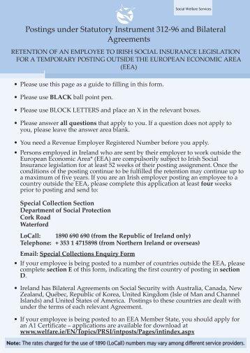 Application Form - Welfare.ie