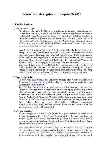 Erfahrungsbericht SS 11/12 - Erasmus