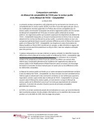 Comparaison sommaire du Manuel de comptabilité de l'ICCA pour ...