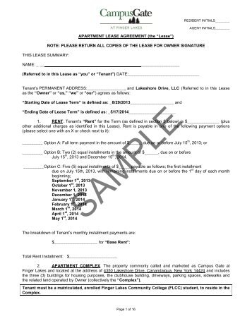 Sample Lease Agreement  Ford Amphitheatre