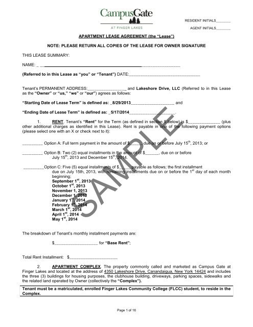 Sample Lease Agreement Edr Property Operations