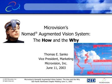 Microvision Nomad Augmented Vision System - SID