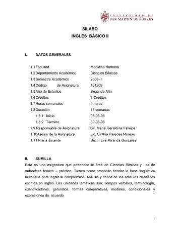 SILABO INGLÉS BÁSICO II - Facultad de Medicina Humana