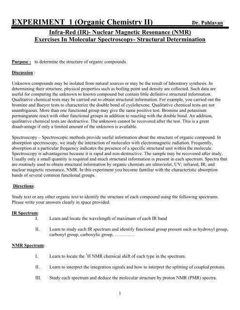 EXPERIMENT 1 (Organic Chemistry II)
