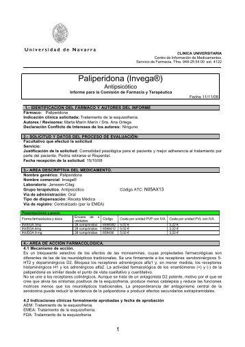 Paliperidona (Invega®)