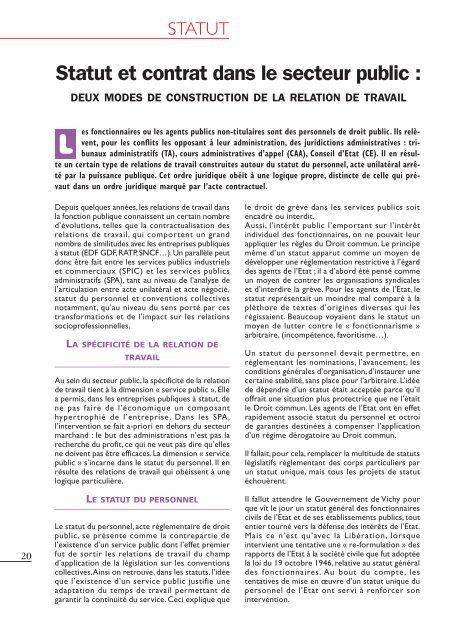 14ad0c5a982 Statut et contrat dans le secteur public - Snphar