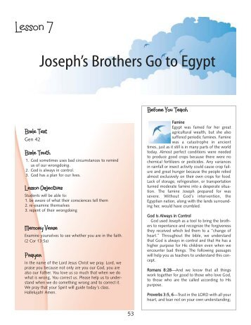 Joseph's Brothers Go to Egypt - True Jesus Church