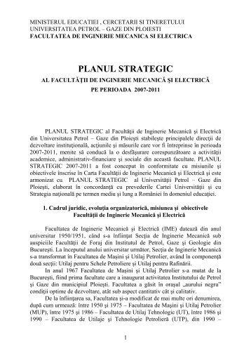 Planul Strategic al Facultatii pe perioada 2007-2011 - Universitatea ...