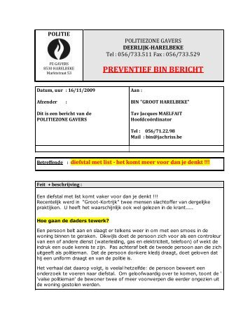 16/11/2009 - Diefstal met list
