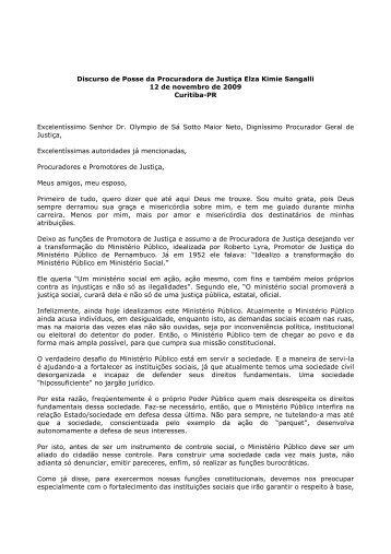 Discurso de Posse da Procuradora de Justiça Elza Kimie Sangalli ...