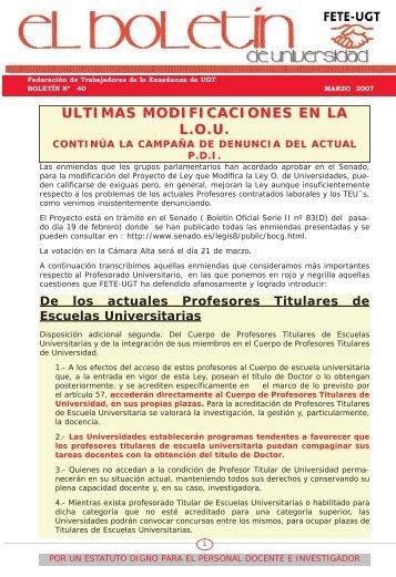 Nº 40, Marzo 2007. - Sección Sindical de FETE-UGT. Universidad ...