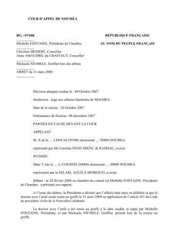 COUR D'APPEL DE NOUMÉA RG : 07/606 RÉPUBLIQUE ...