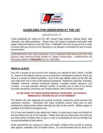 LBT Observer Guidelines - University of Arizona
