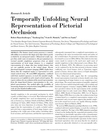 Temporally Unfolding Neural Representation of Pictorial Occlusion