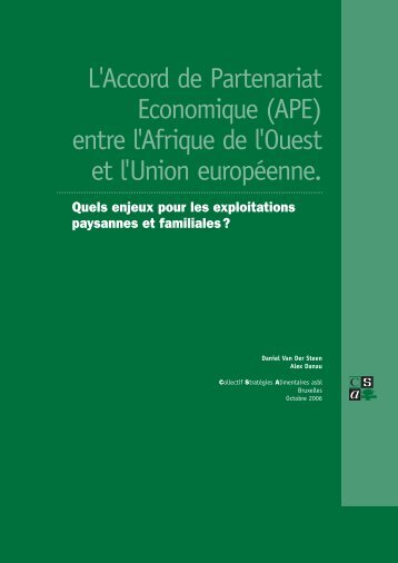 L'APE entre l'Afrique de l'Ouest et l'UE - CSA
