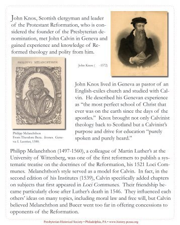 Celebrating John Calvin - Presbyterian Historical Society