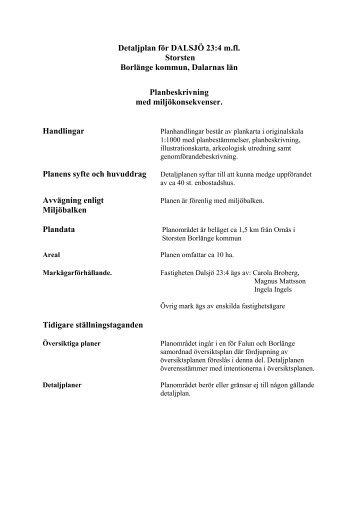 Detaljplan för DALSJÖ 23:4 m.fl. Storsten Borlänge kommun ...
