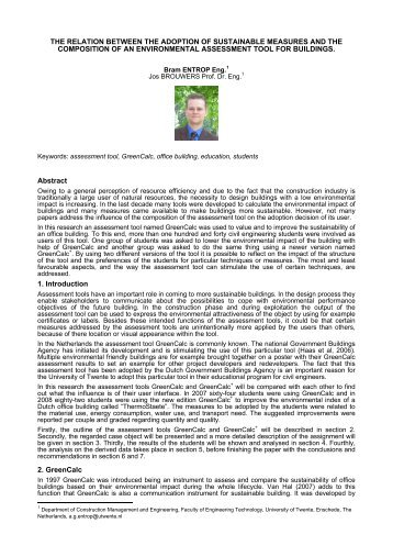 the relation between the adoption of sustainable measures and the ...