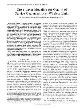 Cross-Layer Modeling for Quality of Service Guarantees - Computer ...