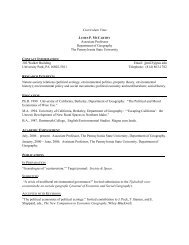 Curriculum Vitae - Department of Geography | Home - Penn State ...