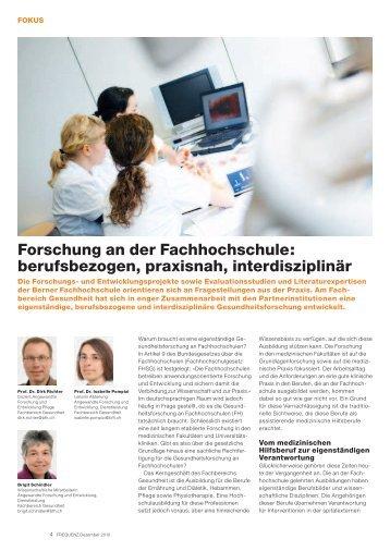 Forschung an der Fachhochschule - Gesundheit - Berner ...