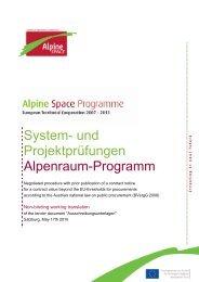 System- und Projektprüfungen Alpenraum-Programm