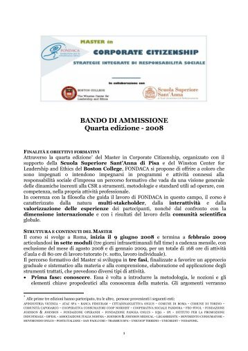 Bando Master Fondaca - Impronta Etica