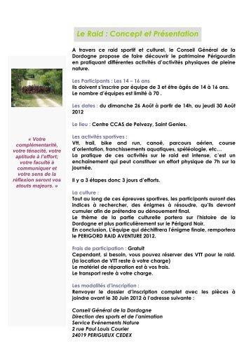 carnet présentation 2012.rtf - Sports CG24 - Conseil général de la ...
